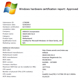H81M DGS R20 Windows 10 Approved